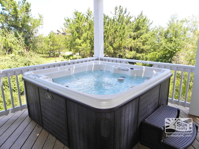 Private Hot Tub off Mid-Level King Master Bedroom