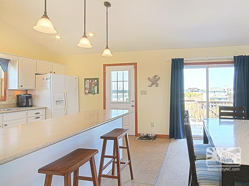 Bar Seating in Kitchen with Horizon Ocean Views
